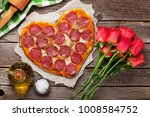 heart shaped pizza with... | Shutterstock . vector #1008584752