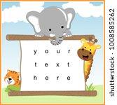 happy animals cartoon with... | Shutterstock .eps vector #1008585262