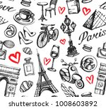 seamless pattern with paris... | Shutterstock .eps vector #1008603892