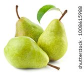 ripe pears with leaf isolated | Shutterstock . vector #1008615988