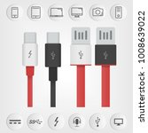 set of usb and usb type c... | Shutterstock .eps vector #1008639022