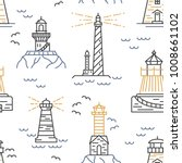 lighthouses seamless pattern.... | Shutterstock .eps vector #1008661102