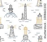 lighthouses seamless pattern.... | Shutterstock .eps vector #1008661102