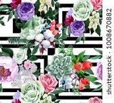 bouquet flower pattern in a... | Shutterstock . vector #1008670882