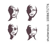 a set of human faces. emotions... | Shutterstock .eps vector #1008671776