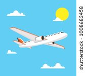 airplane in sky. vector... | Shutterstock .eps vector #1008683458