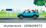 dad drives car to wife and... | Shutterstock .eps vector #1008698572