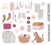 knitting needles vector wool... | Shutterstock .eps vector #1008700285