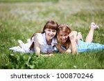two girls spending time...   Shutterstock . vector #100870246