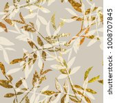 leaves seamless pattern. hand...   Shutterstock .eps vector #1008707845