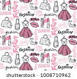hand drawn doodle fashion... | Shutterstock .eps vector #1008710962