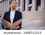 thoughtful dark skinned female... | Shutterstock . vector #1008712315