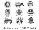 music record studio black and... | Shutterstock .eps vector #1008717625