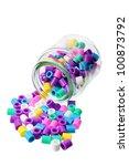 bottle with plastic beads on... | Shutterstock . vector #100873792