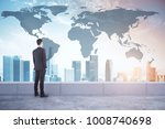 businessman looking at city... | Shutterstock . vector #1008740698