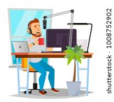 radio dj vector. modern radio... | Shutterstock .eps vector #1008752902