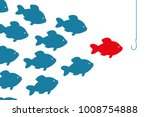 special red fish going to bait. ... | Shutterstock .eps vector #1008754888