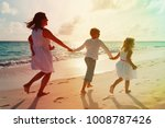 mother with kids play run on... | Shutterstock . vector #1008787426