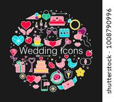 wedding flat line icons set.... | Shutterstock .eps vector #1008790996