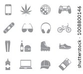 teenager icons. gray flat... | Shutterstock .eps vector #1008800146