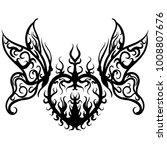 tattoo sketch vector heart with ... | Shutterstock .eps vector #1008807676