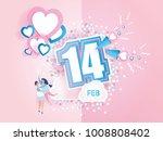 lovely joyful couple on pink... | Shutterstock .eps vector #1008808402