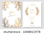 gold invitation with floral... | Shutterstock .eps vector #1008812578