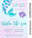 mermaid birthday invitation.... | Shutterstock .eps vector #1008833968