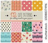 12 Patterns Set In Cute...