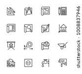 line icon set of architect...