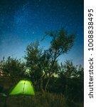 Bright Illuminated Tourist Tent ...