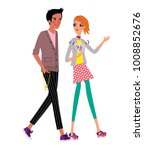 boyfriend and girlfriend... | Shutterstock .eps vector #1008852676