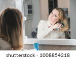 beautiful young woman in front... | Shutterstock . vector #1008854218