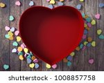 empty red heart shaped box with ... | Shutterstock . vector #1008857758