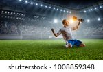 soccer player at stadium. mixed ... | Shutterstock . vector #1008859348