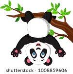 cartoon panda hanging on tree... | Shutterstock .eps vector #1008859606
