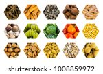 Small photo of set icon honeycomb vegetables fruits and nuts, base hexahedral cell watermelon tomato almonds banana