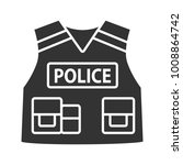 police tactical vest glyph icon....