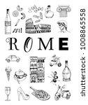 rome poster. vector set of... | Shutterstock .eps vector #1008865558