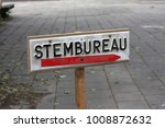 a sign with the word stembureau ... | Shutterstock . vector #1008872632