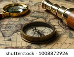 retro compass with old map and... | Shutterstock . vector #1008872926