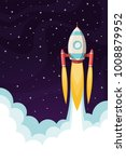 space rocket flying in space | Shutterstock .eps vector #1008879952