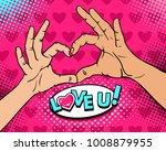 pop art background with female ... | Shutterstock .eps vector #1008879955