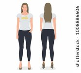 front and back view of young...   Shutterstock .eps vector #1008886606