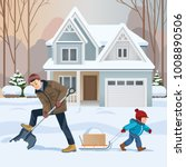 young father removing snow with ... | Shutterstock .eps vector #1008890506