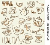 i love tea icons doodles vector ... | Shutterstock .eps vector #100889992