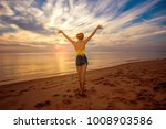 rear view portrait of fit... | Shutterstock . vector #1008903586