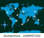 illustration of airplanes and... | Shutterstock .eps vector #1008907102