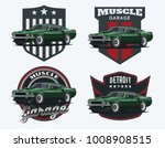 Stock vector set of muscle car emblems and badges classic car t shirt template old american car from s 1008908515