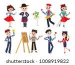 vector flat french parisian... | Shutterstock .eps vector #1008919822